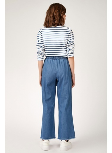 Modaplaza  Kadın Bol Paça Mavi Pantolon  Mavi